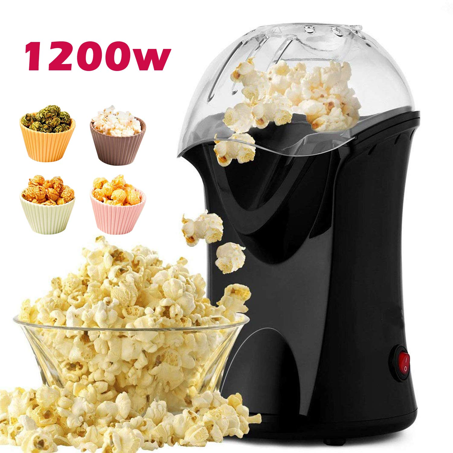 Popcorn Popper, Hot Air Popcorn Maker, 1200W Popcorn Machine with Measuring Cup, Removable Lid, Healthy Popcorn Maker for Home,No Oil Needed by Homdox