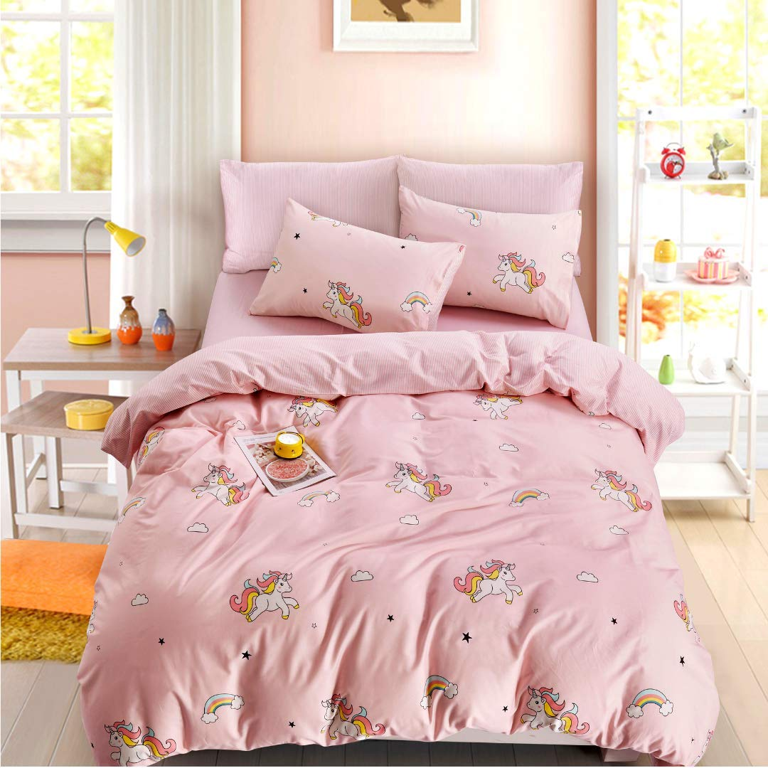 ELLE & KAY Unicorns Duvet Cover Set/Unicorn Kids Bedding/ 100% Cotton Queen Zipper Bedding/Full Reversible Girls Comforter Cover/ 3 Piece Queen Duvet Cover Set. by ELLE & KAY (Image #7)