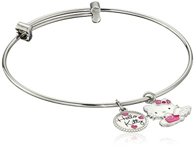 935998b83 Image Unavailable. Image not available for. Color: Hello Kitty Stainless  Steel Angel Charm Bangle ...