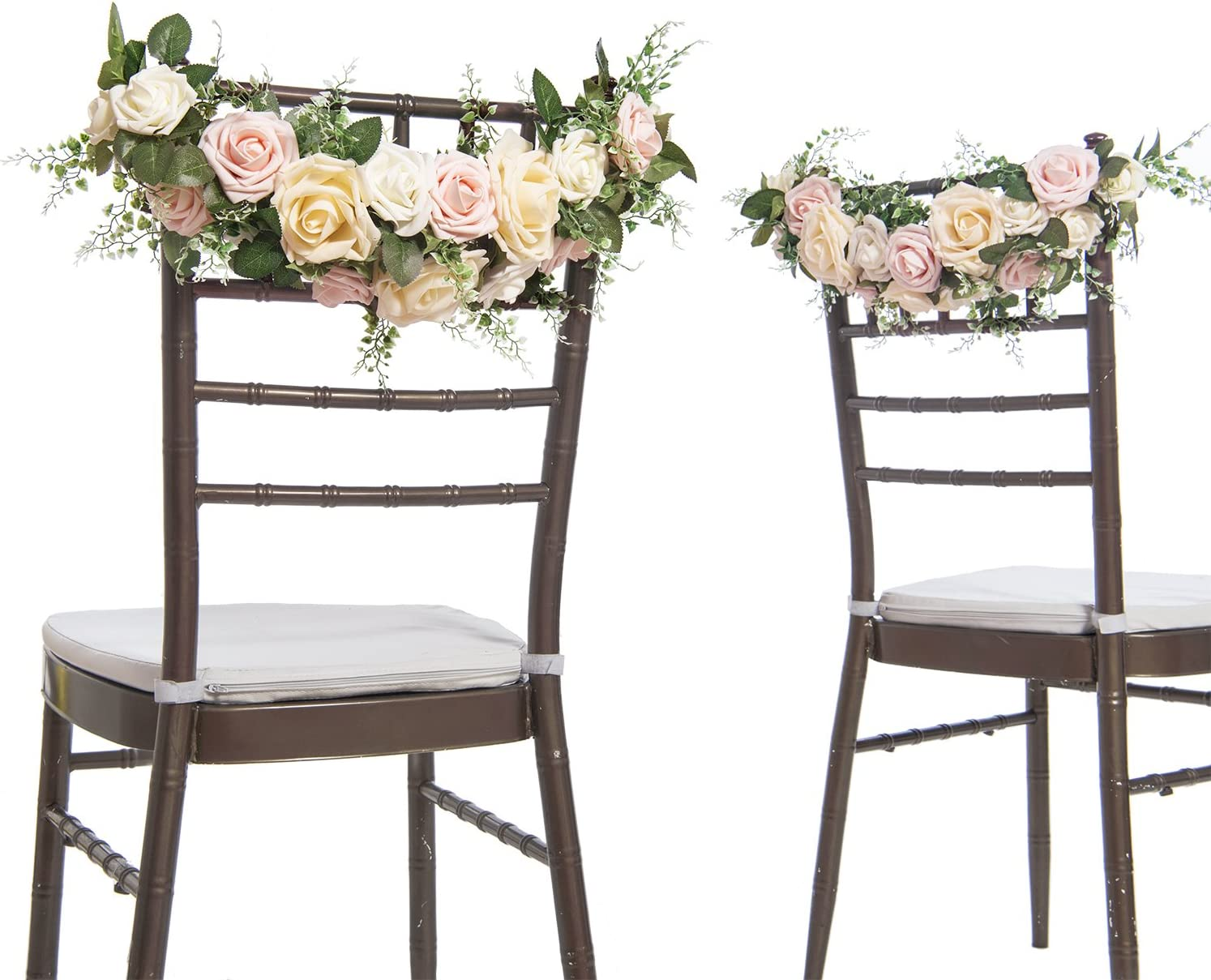 Ling's moment Chair Decor for Wedding Chair Banners for Wedding Chair Signs Garland Bride and Groom Floral Chair Decor (Pack of 2)