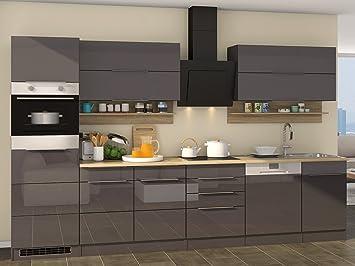 Wunderbar Küchenzeile Küchenblock Küche Einbauküche Kochnische Küchen Set  U0026quot;Neapel IIu0026quot; Grau Hochglanz