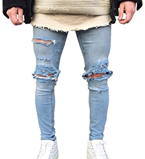 0f13eed0244e XARAZA Men s Skinny Ripped Holes Stretch Jeans Distressed Tapered Leg Denim  Pants