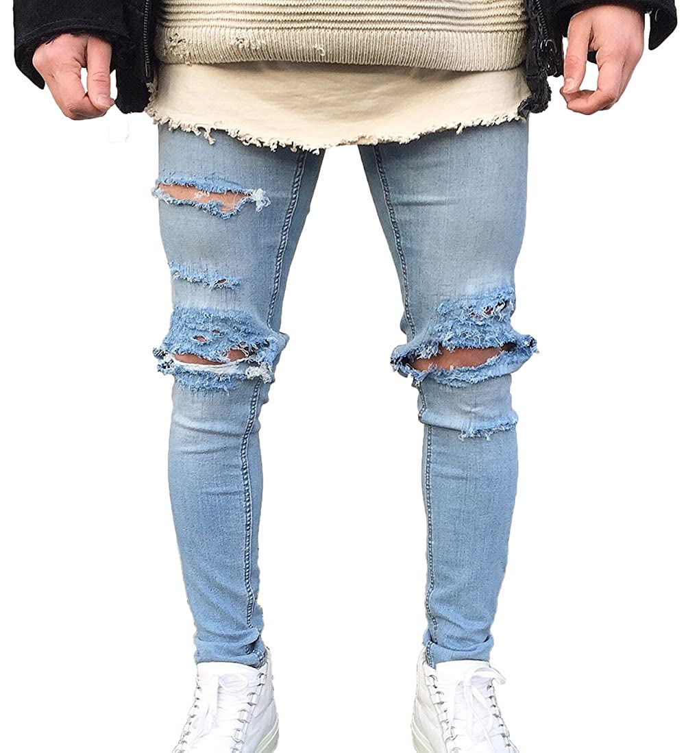 4de3ca03d3f XARAZA Men's Skinny Ripped Holes Stretch Jeans Distressed Tapered Leg Denim  Pants at Amazon Men's Clothing store: