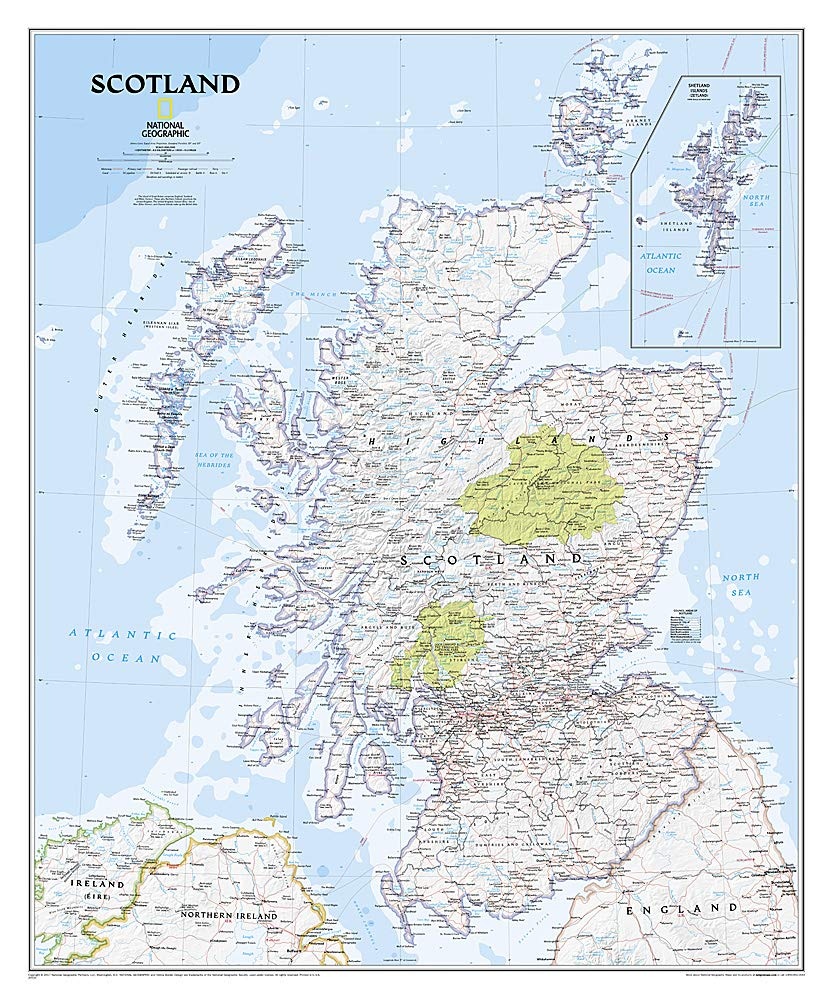 Shetland Scotland Map page over 100 years old also available unframed