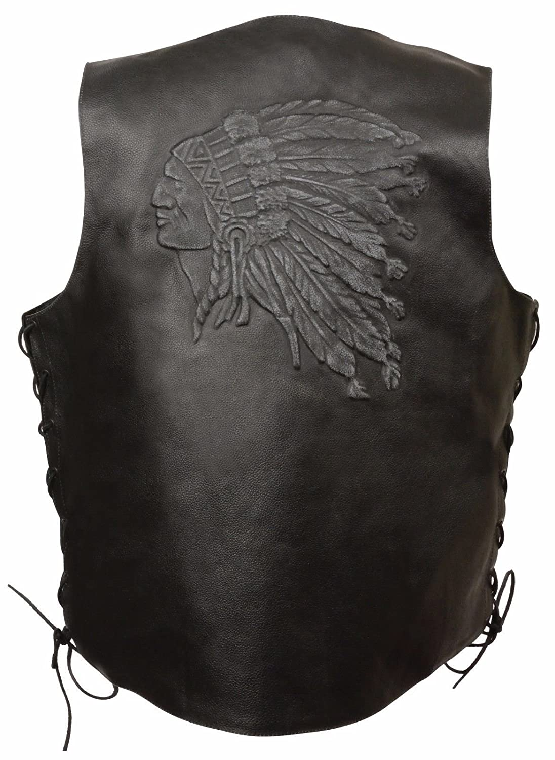 5XL Regular Men/'S Motorcycle Black Indian Head Embroidered Leather Vest W//Side Laces Great $