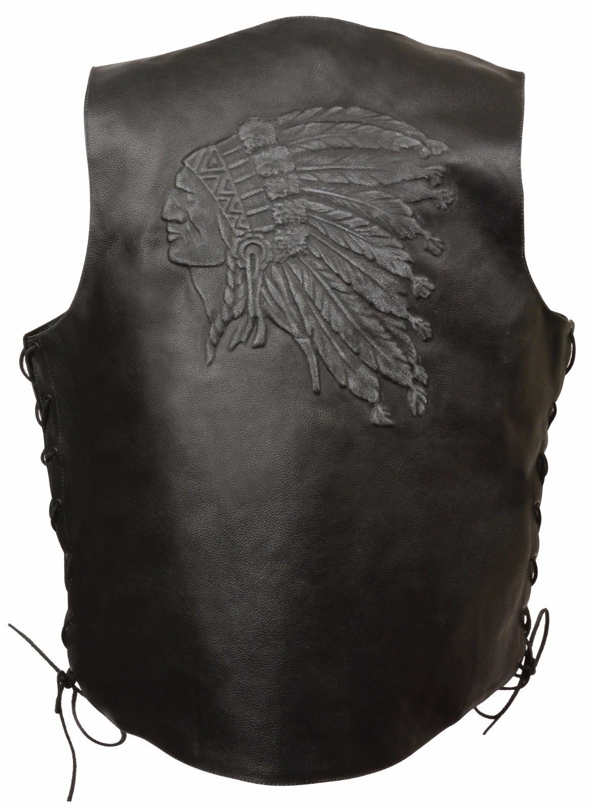MEN'S MOTORCYCLE BLACK INDIAN HEAD EMBROIDERED LEATHER VEST W/SIDE LACES GREAT $ (2XL Regular)