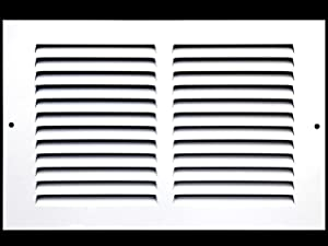 "12""w X 6""h Steel Return Air Grilles - Sidewall and Ceiling - HVAC DUCT COVER - White [Outer Dimensions: 13.75""w X 7.75""h]"