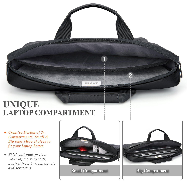 Laptop Messenger Bag 13.3 inch,BRINCH Waterproof Easy Clean Durable Business Laptop Bag Shoulder Bag Work Briefcase Sleeve Case Handbag for Men/Women,Fits 13-13.3'' Laptop/Notebook Computer,Black by BRINCH (Image #4)