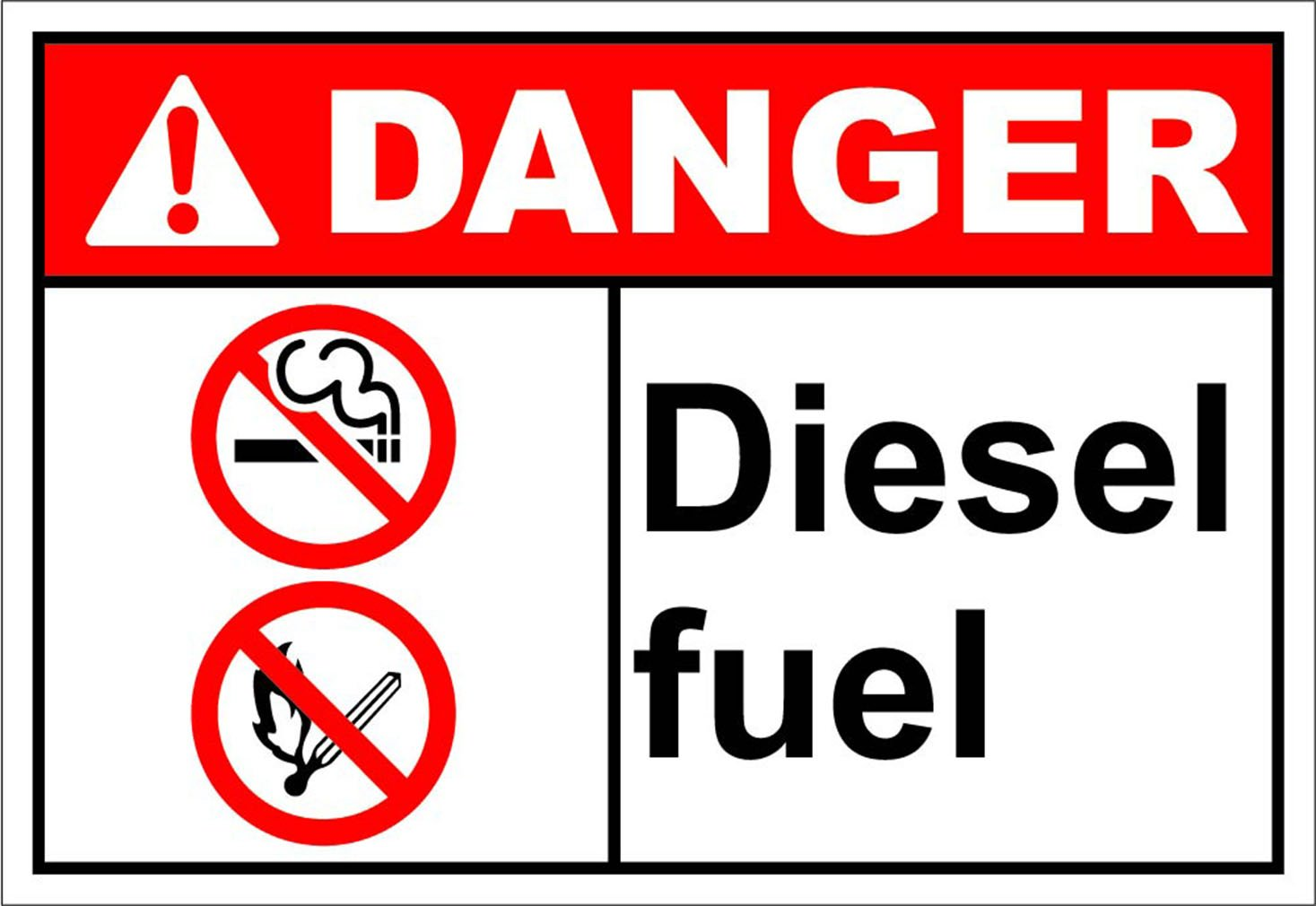 Diesel Fuel Danger OSHA / ANSI LABEL DECAL STICKER 10 inches x 7 inches