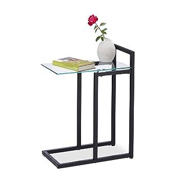 Amazonde Relaxdays Beistelltisch Aus Glas Und Metall Dekorativer
