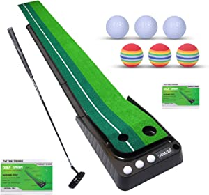 Golf Putting Green, Indoor & Outdoor Golf Putting Mat with Auto Ball Return, Protable Golf Mats for Home, Office, Backyard, Adults and Children Use, Golf Gifts for Men