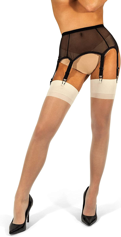 New Women Thigh-Highs Stockings Hold Up Lace Top Nylon Garter Belt Suspender Set