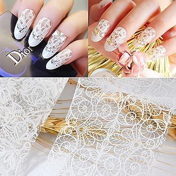 Amazon 10pcs Women Nail Art White Lace Nail Sticker Designs