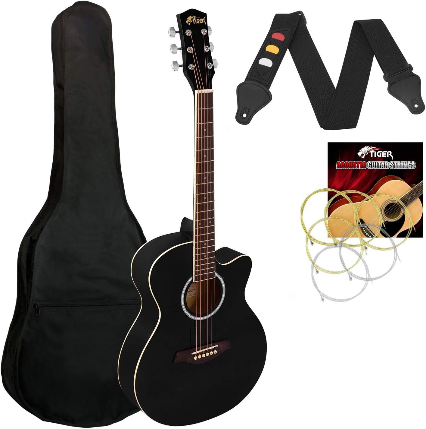 Tigre Guitarra Acústica Cuerpo Pequeño para Guitarra Principiante - Negro Completo