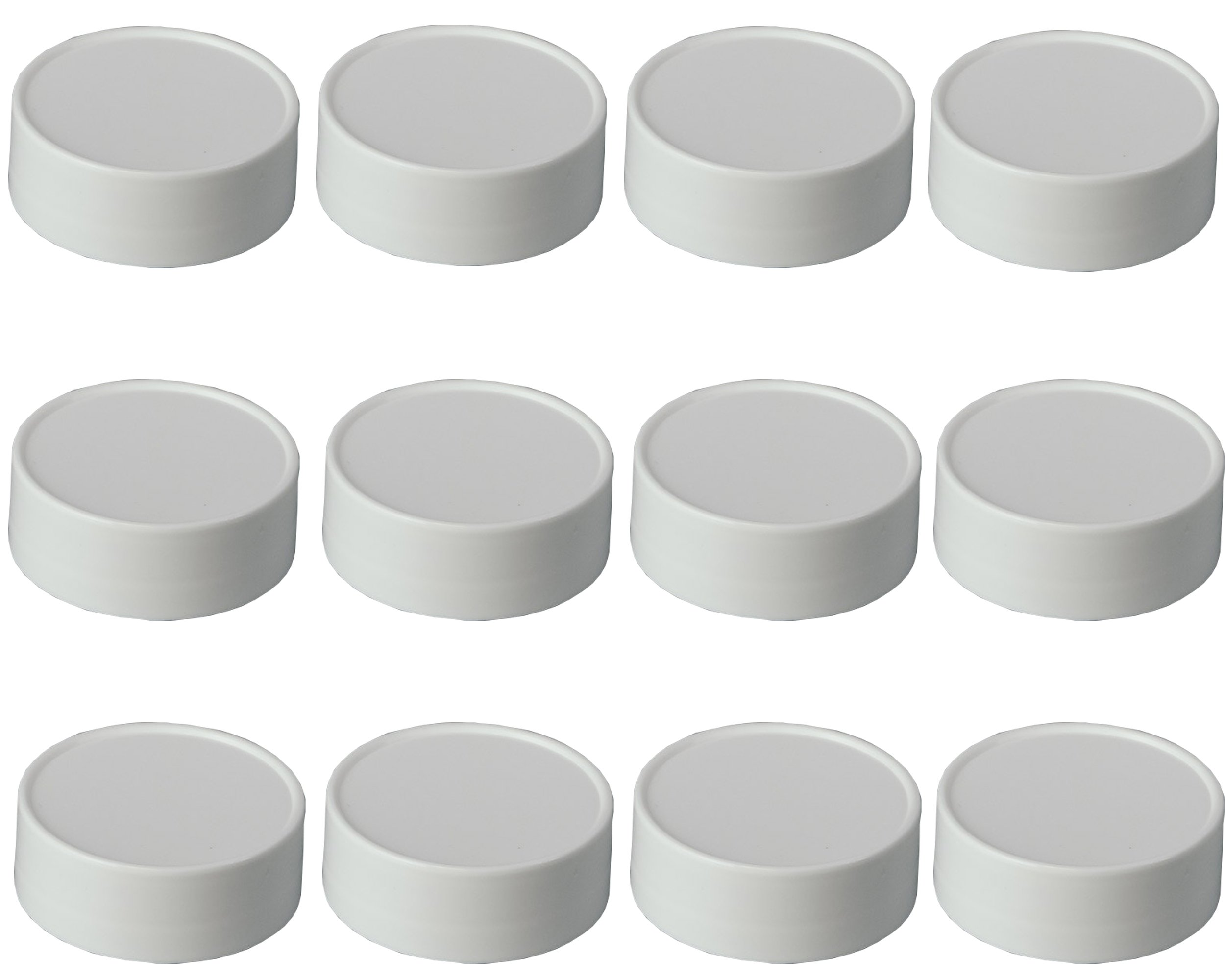 Mini Plastic Storage Lids - 1 3/4 inch -BPA Free- Made in the USA -LIDS ONLY (white, 12)