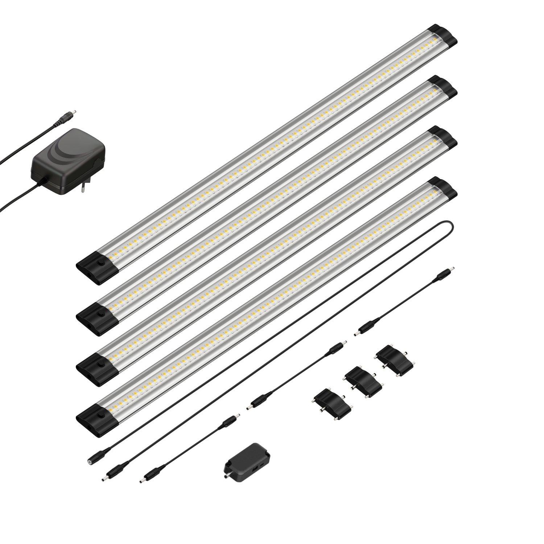 4er-Set parlat LED Unterbau-Leuchte Siris, Infrarot-Sensor, flach, je 50cm, 500lm, warm-weiß, 4er Set