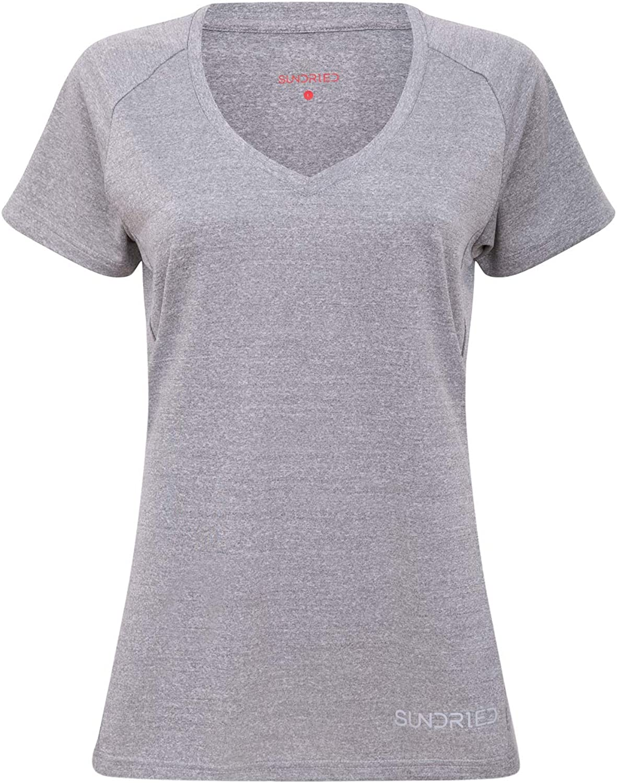 Sundried Femmes V Neck Fitness T-Shirt dentra/înement Activewear Gym Sport Dames Yoga en Cours Top