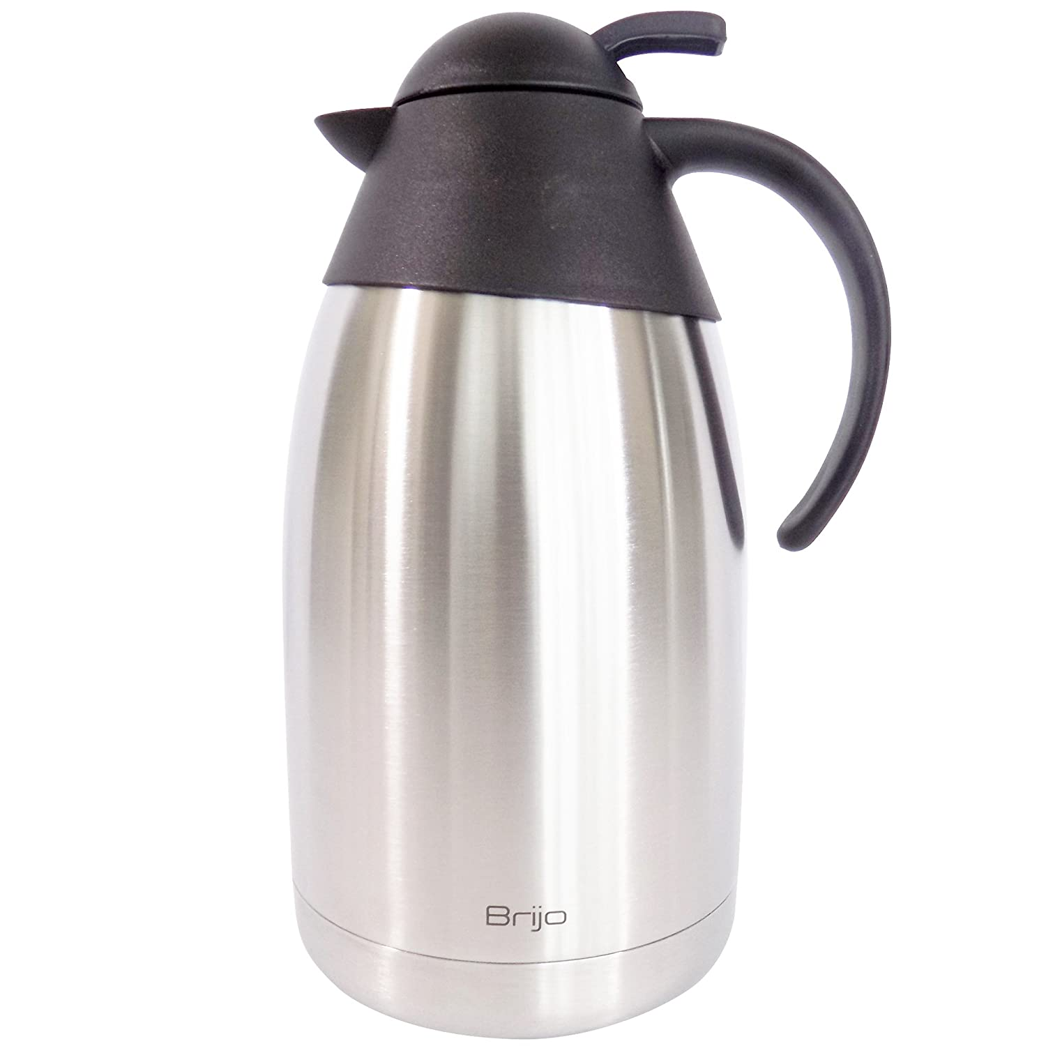 Coffee Carafe Thermal Insulated |Large 12 Cup 68 Ounce 2 Liter Capacity | Stainless Steel with Double Wall Vacuum Insulation | Keep Drinks Hot or Cold | Brush and Cloth Included by Brijo