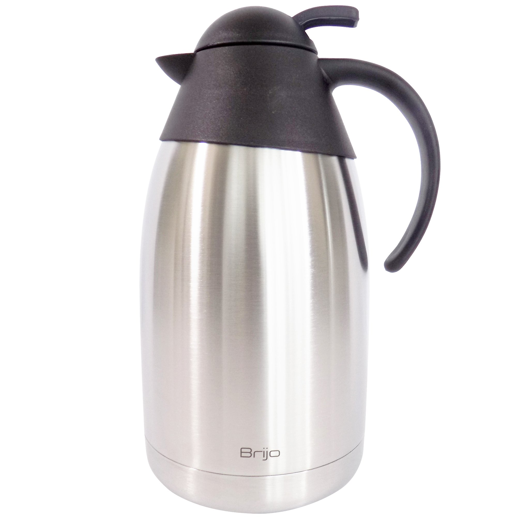 Coffee Carafe Thermal Insulated |Large 12 Cup 68 Ounce 2 Liter Capacity | Stainless Steel with Double Wall Vacuum Insulation | Keep Drinks Hot or Cold | Brush and Cloth Included by Brijo by Brijo