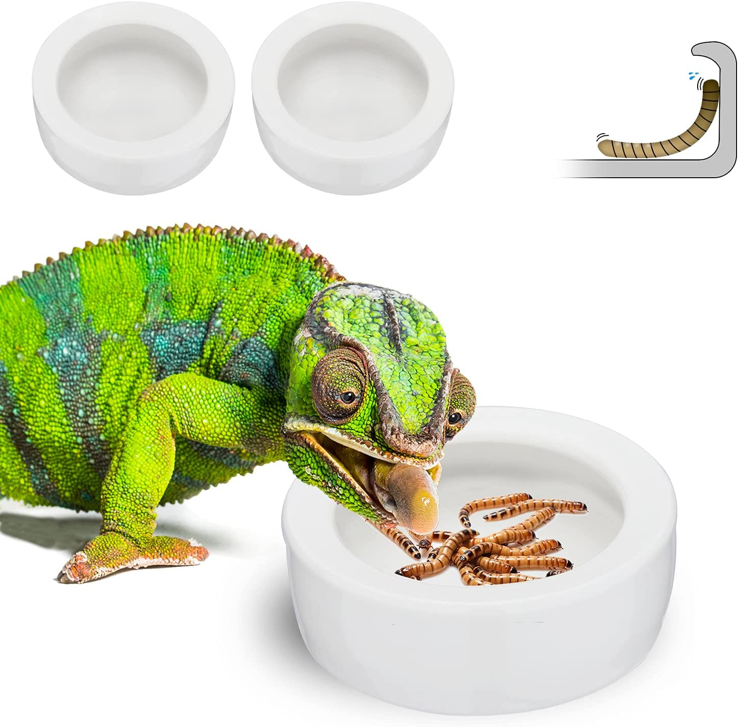Nucookery Reptile Water Food Bowls,Worm Dish,Anti-Escape Feeder,Ceramic Pet Bowls,Worms Bowls for Lizard Bearded Dragon Gecko Chameleon,Calcium Powder Purees Dish,Small Circular(Pack of 2)