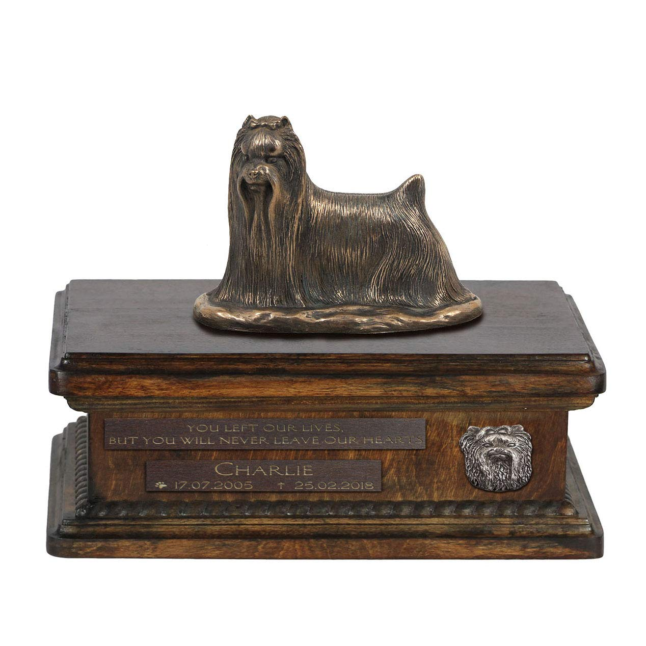 Yorkshire Terrier 3, Urn for Dog Ashes Memorial with Statue, Pet's Name and Quote ArtDog Personalized