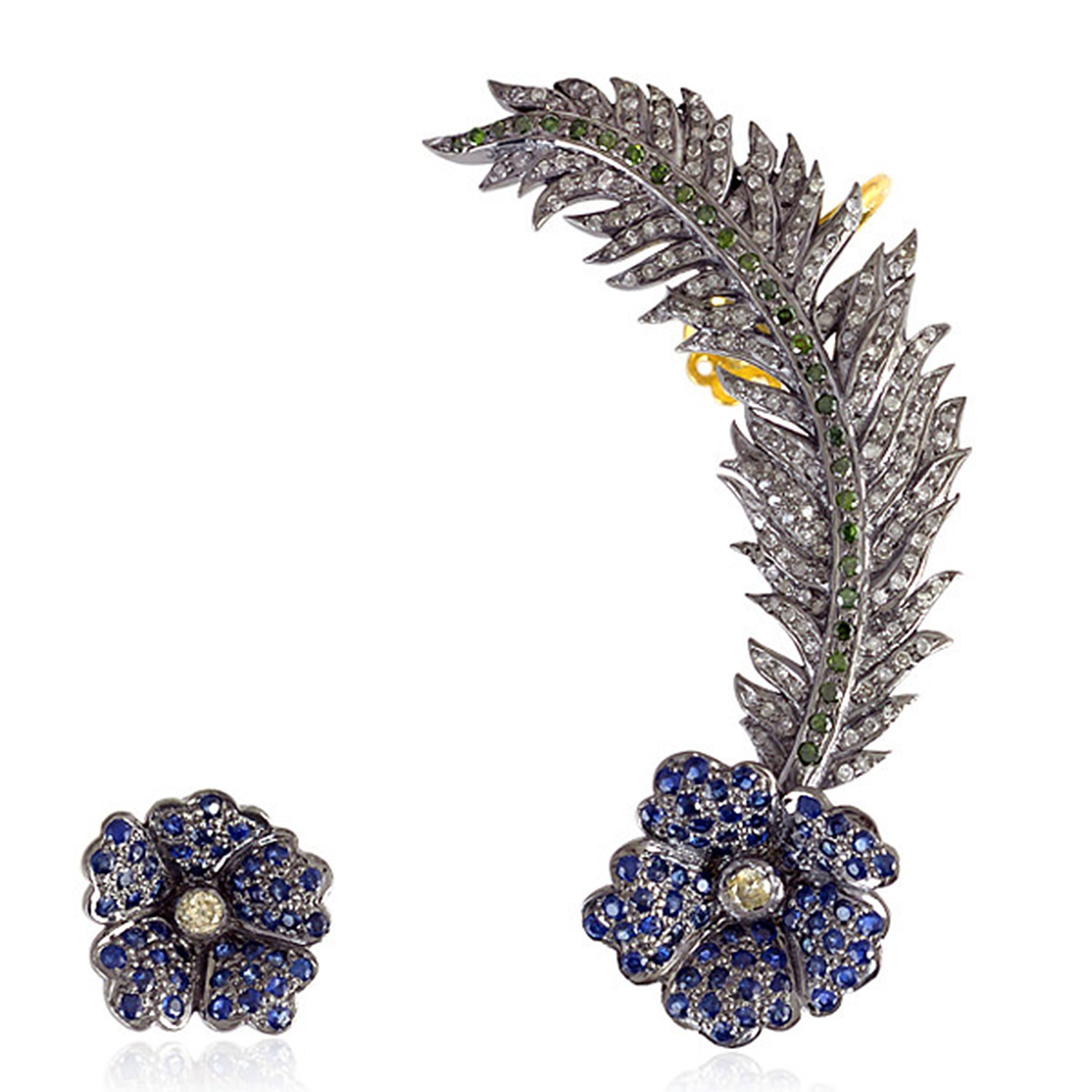Blue Sapphire & Diamond Floral Leaf Style Ear Crawler Climber Cuff Earrings in 18K Gold & Sterling Silver