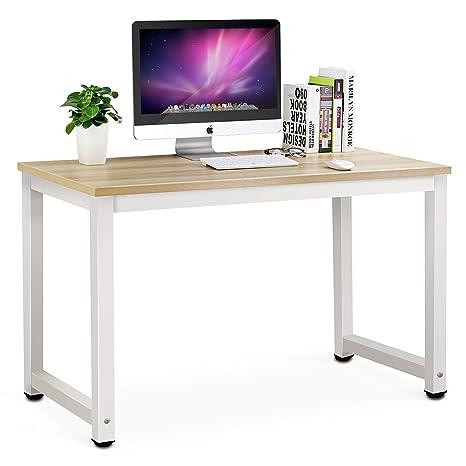 Mesa de Ordenador Tribesigns Escritorio de la computadora Moderna Escritorio con para hogar o oficina-Roble/Blanco - 120(L) x 60cm (W) x 74cm(H)