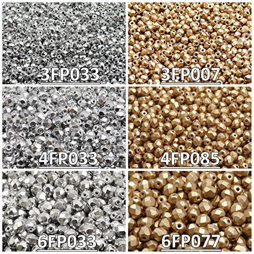 Glass Beads Round 3mm, 4mm, 6mm, Two Colors. Total 500 pcs. Set 2CFP 011 (3FP033 3FP007 4FP033 4FP085 6FP033 6FP077) ()
