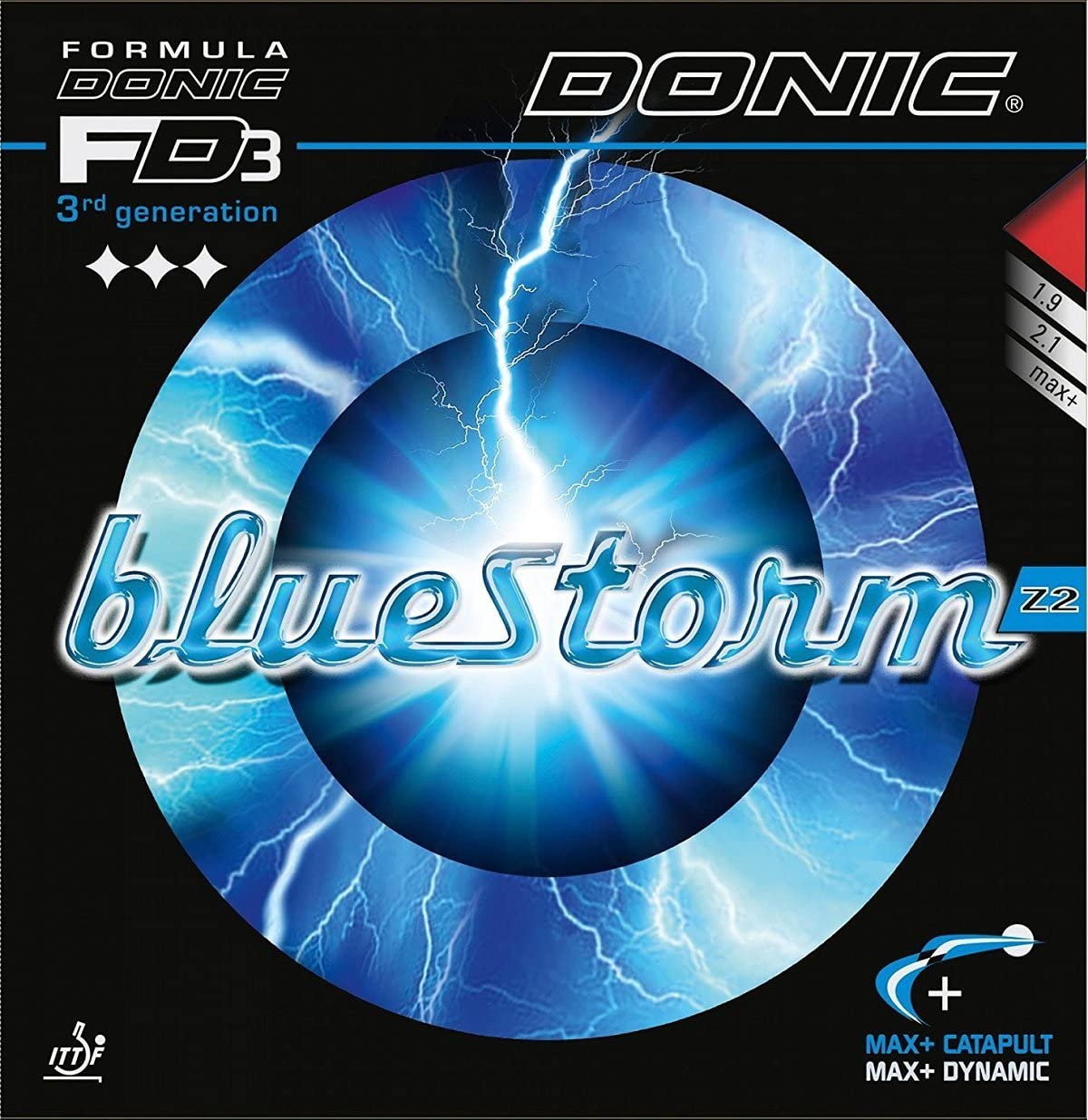Donic bluestorm Z2, 2.1mm Red and Black, Table Tennis Rubbers (2Pieces)