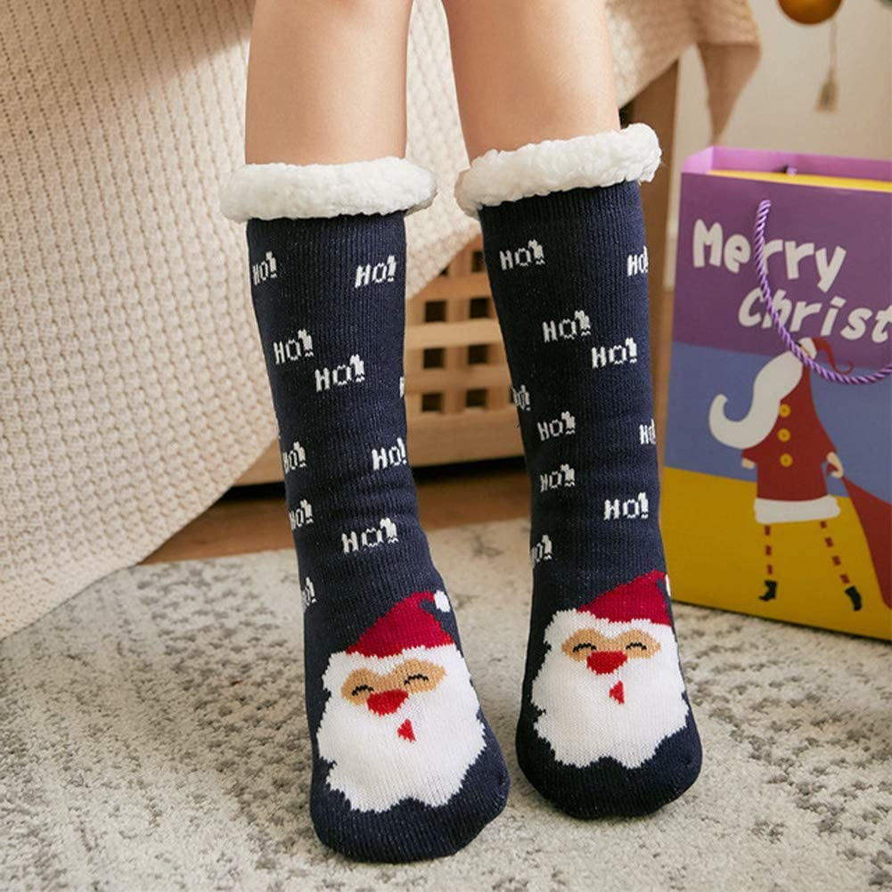 Christmas Holiday Socks Fuzzy Xmas Slipper Floor Socks Winter Warm Cotton Causal Socks