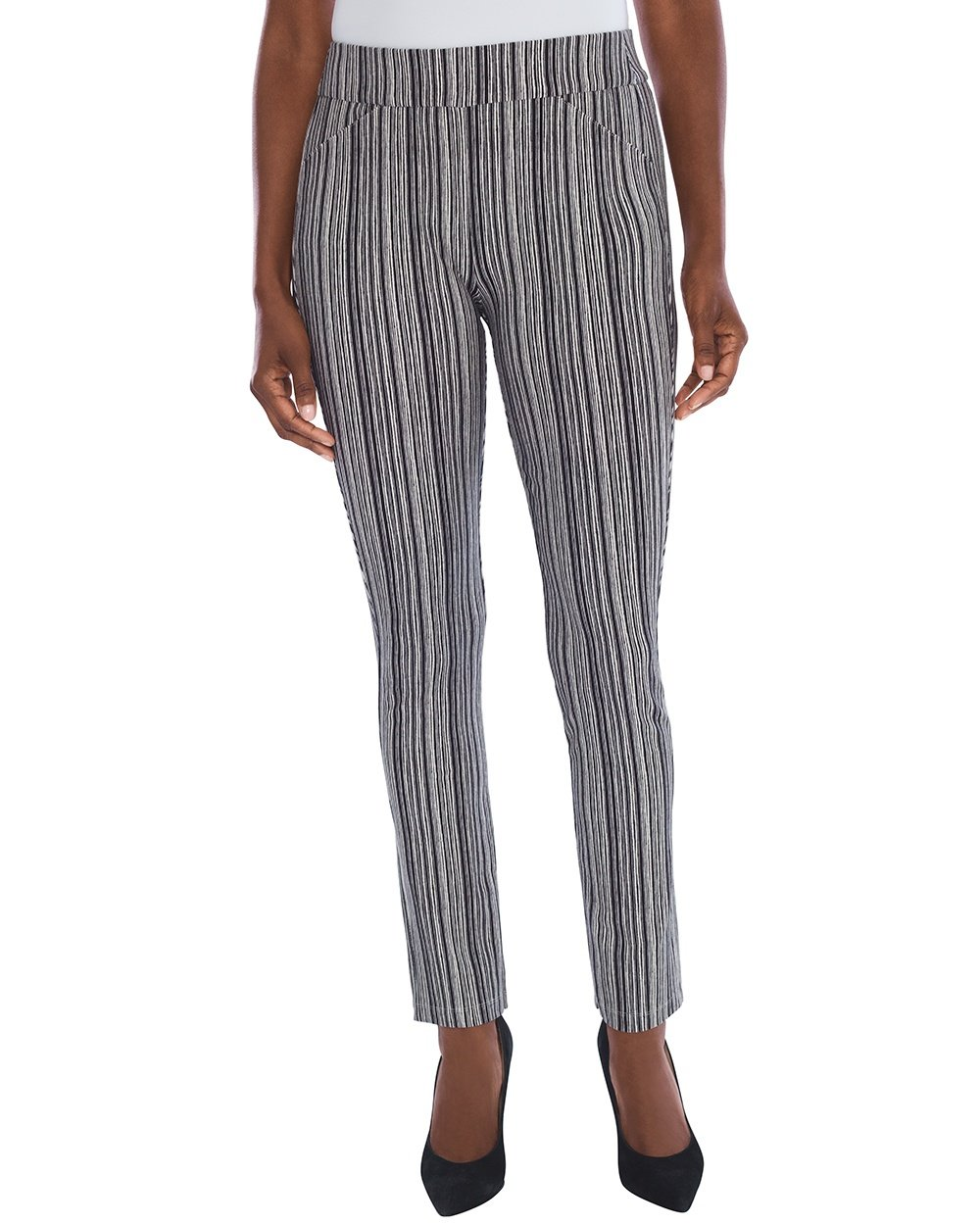 Chico's Women's Travelers Collection Striped Crepe Pants Size 14 L (2.5 REG) Black/White