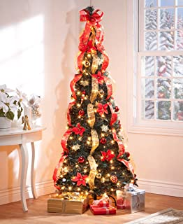 6 ft christmas spruce prelit poinsettia pull up tree - Pre Lit Decorated Christmas Trees