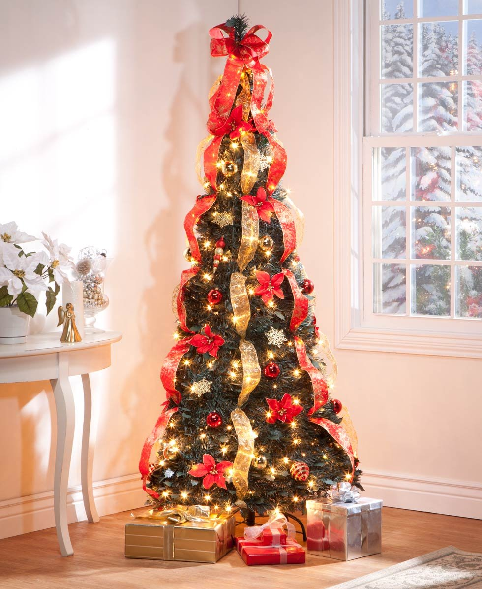 6 ft Christmas Spruce Prelit Poinsettia Pull Up Tree