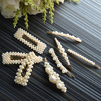 78d84ca9beca4 Amazon.com : Onlyesh Pearl Hair Clip for Women Hair Pins for Girls Hair  Decorative Silver Pearl Alligator Clips Gold Fashion Styles (8pcs) : Beauty