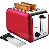 2 Slice Red Toasters, Bonsenkitchen Stainless Steel Wide Slot Bread Toaster with Defrost/Reheat/Cancel Function, 7 Brown Sett