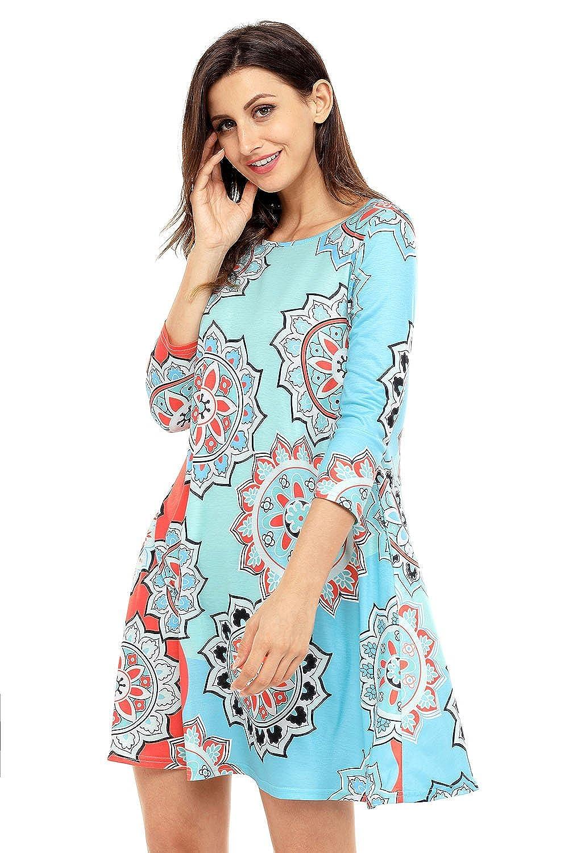 10681c431850 Women's Bohemian Sunflower Print Dress Long Sleeve Casual Mini Dresses at  Amazon Women's Clothing store: