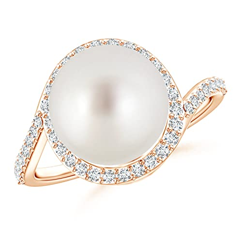 Angara South Sea Cultured Pearl Ring with Diamond Halo w7RDnF