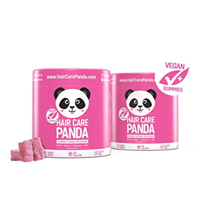 Hair care panda - 2 Pakete Vitamine gesundes Haar, vegane Gummibärchen Biotin langes dickes kräftiges Haar 2 x 60 Gummibärche