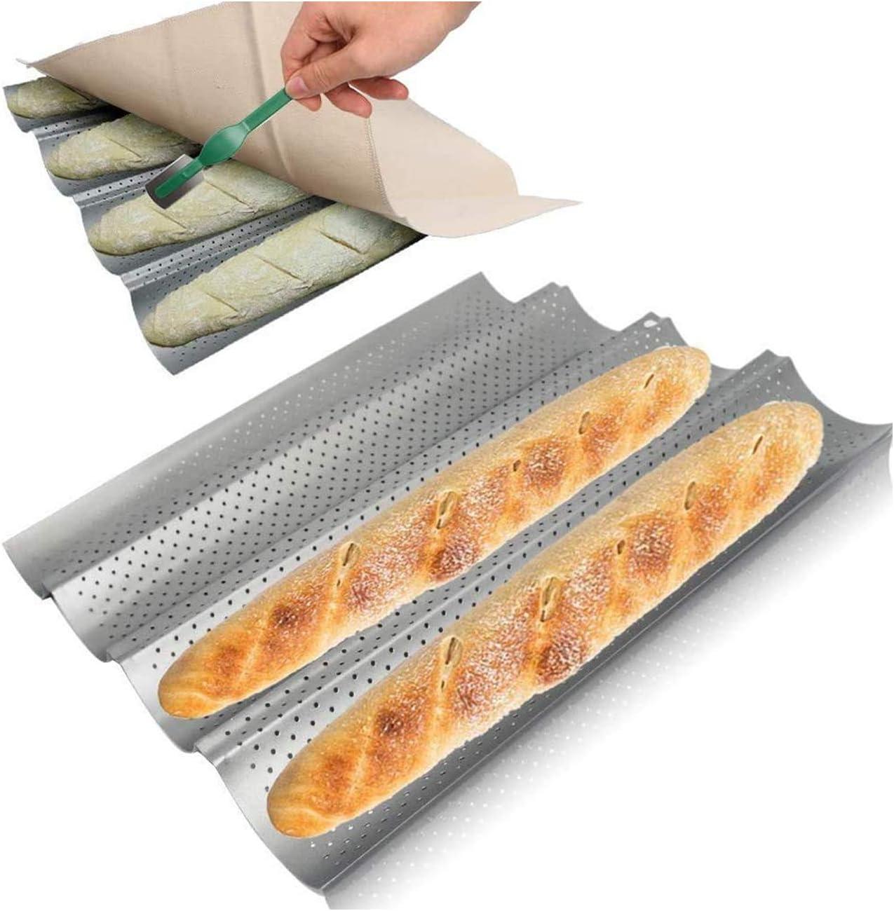 38 x 33 cm con cuchillo de panadero y lino para 4 baguettes HOTOOLME Molde para baguette antiadherente de acero inoxidable