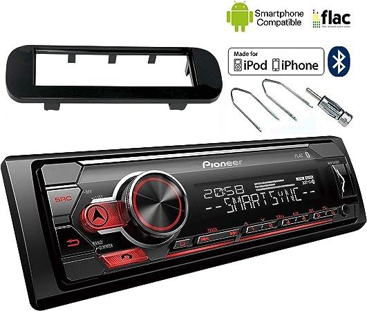 à partir de 01.2012 Autoradio Ouverture 1-din Façade Radio Noir Mat Fiat Panda 319