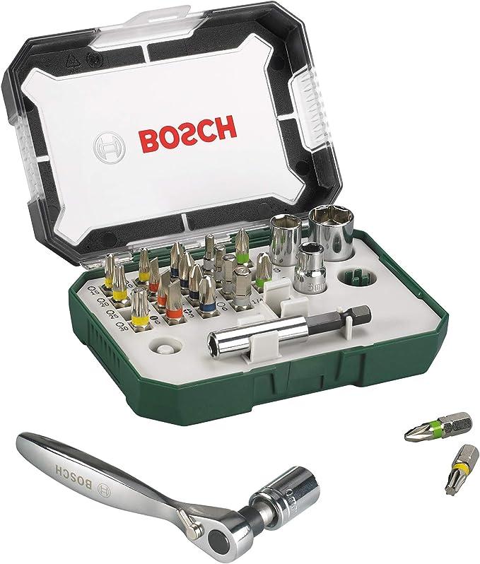 Bosch 2607017322 Puntas de destornillador + trinquete (juego de 26): Amazon.es: Bricolaje y herramientas