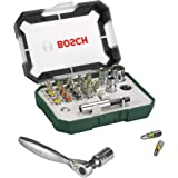 Bosch Screwdriver Bit Set + Mini Ratchet Set, 2607017322, 26 Pieces
