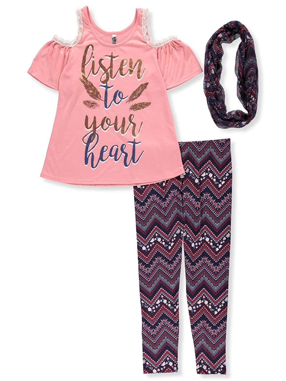 Beautees Girls' 2-Piece Pants Set Outfit with Scarf