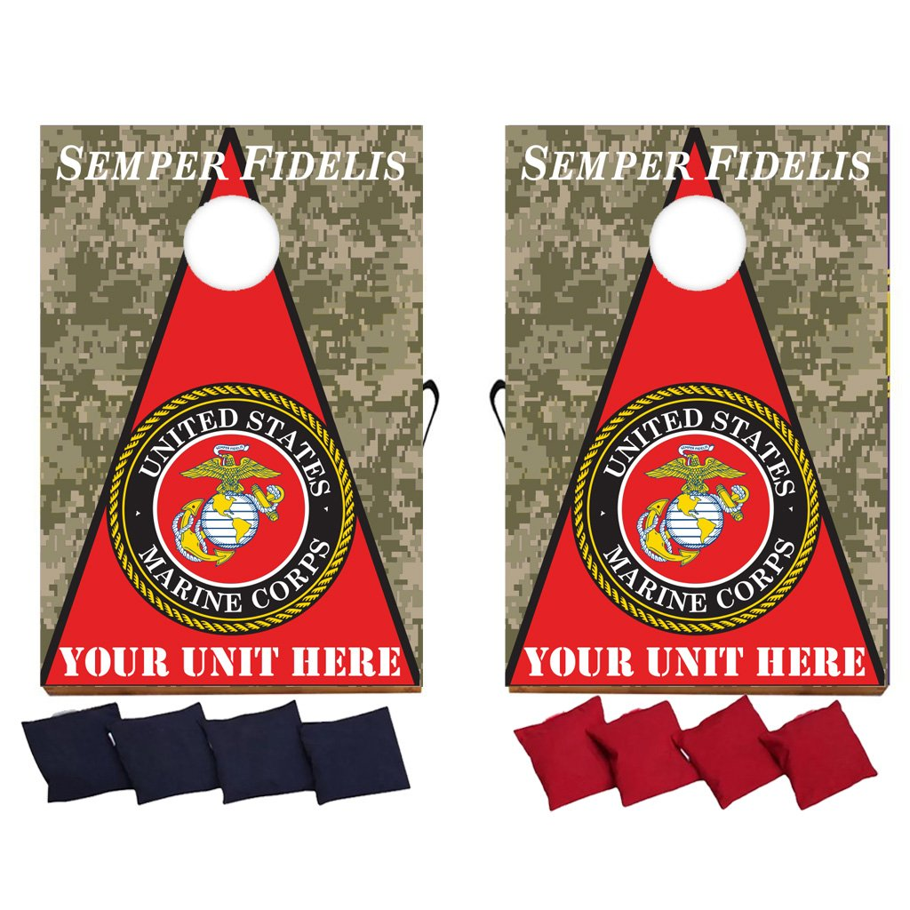 Customizable Marine Corps Semper Fidelis Cornhole Game - Military Bag Toss Game - 8 Bags Included - Wooden Boards - Made in The USA - Custom Unit Name