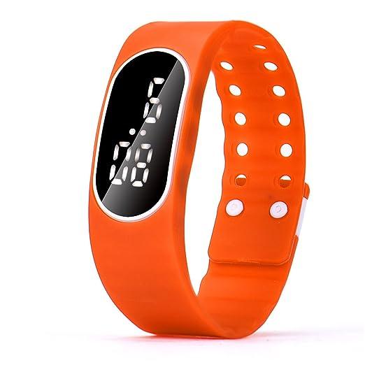 Zarup Para mujer para hombre del reloj LED de goma Unsex Fecha Deportes reloj digital pulsera ☆Naranja: Zarup: Amazon.es: Relojes