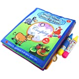 Water Wow Coloring Doodle Cloth Book,BBLIKE Magic Water Drawing Animal Cloth Book,Reusable Travel Original Color Doodle Painting Toys with 2 Magic Water Pens for kids (Farm Animal-Themed)