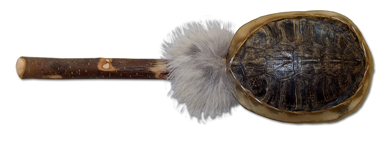 Native American Style Turtle Shell Rattle with Fur Crazy Crow Trading Post 4572-204-001