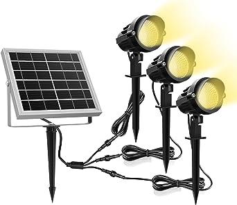 Luz Solar para Exterior, MEIKEE Foco Solar Blanca Cálido, 3000k ...