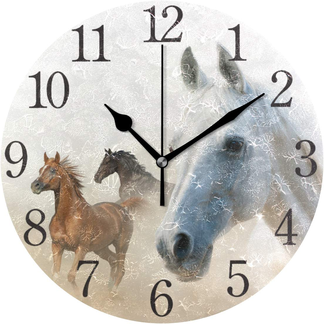 Wall Clock Silent 9.5 Inch Battery Operated Non Ticking Love Couple Round Decorative Acrylic Quiet Clocks for Bedroom Office School Home by domook (2 Horses)
