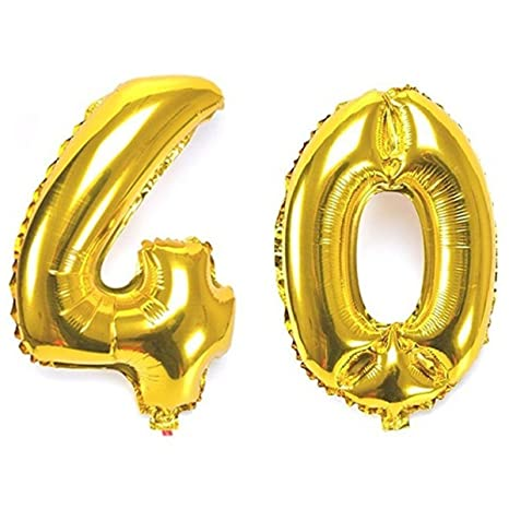 Ouinne Globo 40 Años, Globo del Cumpleaños Número 40 Helio Globos para La Decoración Boda Aniversario, 40 Pulgadas (Oro)